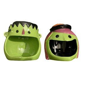 2 Halloween Ceramic Wide Mouth Candy Dishes